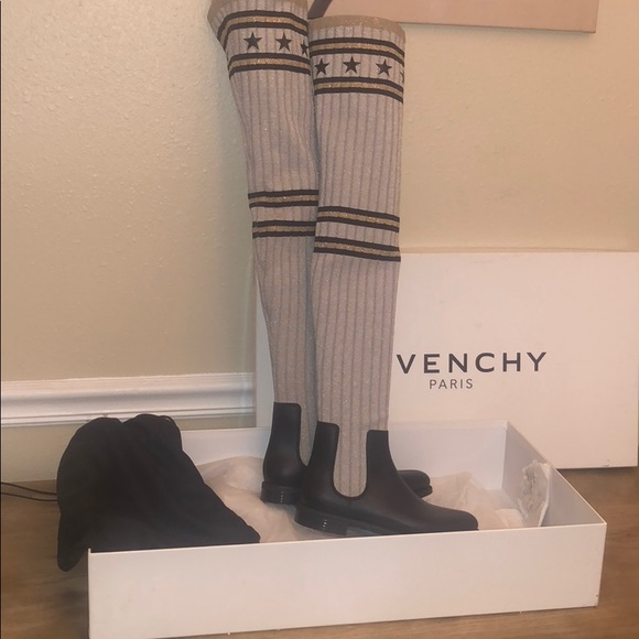 19392460c6c Givenchy Storm Rubber Knit Thigh High Boot 36